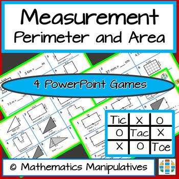 Measurement Perimeter Area Metric Tic Tac Toe PowerPoint Games