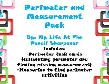 Measurement - Perimeter and Missing Length Task Cards/Scoo