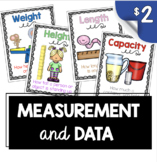 Measurement Posters - Math Center - Length - Width - Capacity - Height Charts