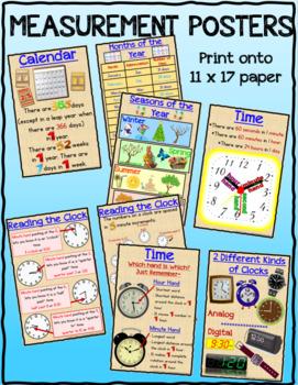 Measurement Posters for Length, Mass, Capacity, Calendar,T