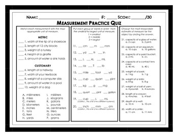 Measurement Practice Quiz
