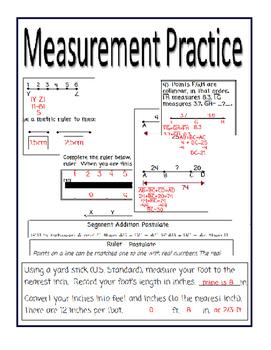 Measurement Practice-Ruler and Addition Segment Postulates