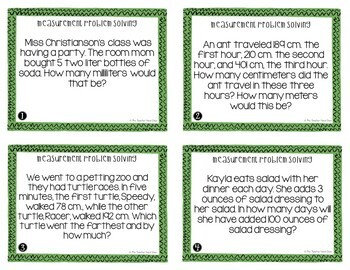 Measurement Problem Solving Task Cards for 4th Grade