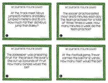 Measurement Problem Solving Task Cards | Measurement Problem Solving Center Game