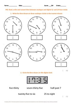 Measurement:  Read, Write and Convert Time