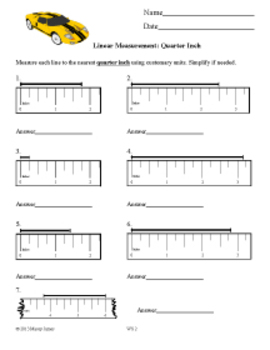 Measurement: Read a Ruler in Halves and Quarters