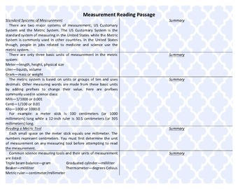 Measurement Reading Passage with Summary Sections