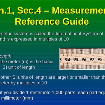 Measurement Reference Guide - The Metric System