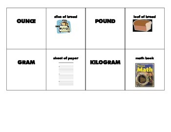 Measurement References Matching Game