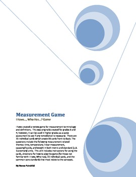 Measurement Review Game (I Have, Who Has) (Vocabulary & De