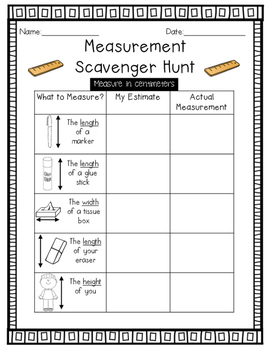 measurement scavenger hunt in cm create your own ruler activity. Black Bedroom Furniture Sets. Home Design Ideas