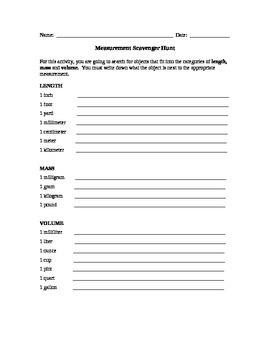 Measurement Scavenger Hunt (length, mass and volume)