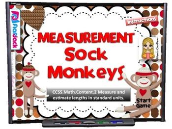 Measurement Sock Monkeys Smart Board Game (CCSS.2.NBT.MD.2)