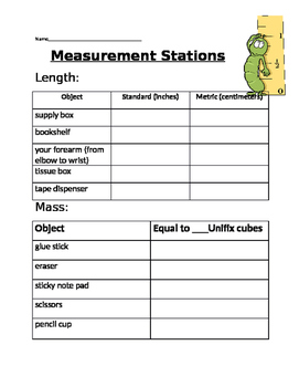 Measurement Stations- 3rd Grade or Review for 4th