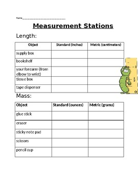 Measurement Stations- 4th Grade  Metric and Standard