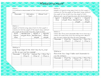 Measurement Stations Grades 4-5