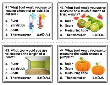 Measurement Task Cards (2.MD.A.1, 2.MD.A.2, 2.MD.A.3, 2.MD.A.4) INK SAVER