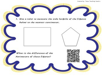 Measurement Task Cards with QR Codes: Area, Perimeter, & Volume