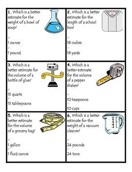 Measurement Task Cards:  Common Core Aligned