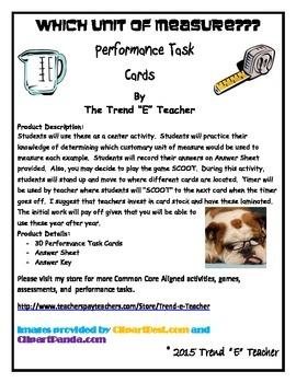 Measurement Task Cards:  Common Core Aligned