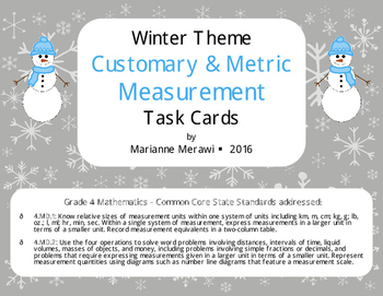 Winter Measurement Task Cards-Customary & Metric-4th Grade Math{4.MD.1 & 4.MD.2}