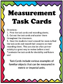 Measurement Task Cards - French