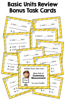 Measurement Task Cards Level 1 | 4th Grade | Includes Images for Plickers