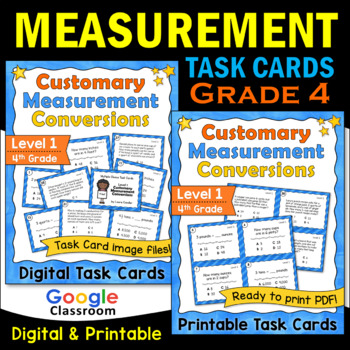 Customary Measurement Task Cards - Level 1 (Includes Images for Plickers)