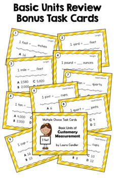 Customary Measurement Task Cards - Level 2 (Includes Images for Plickers)