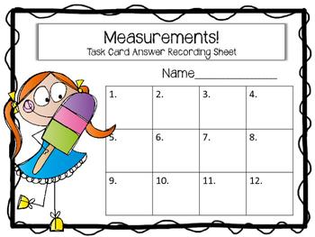Measurement Task Cards. Math Center.