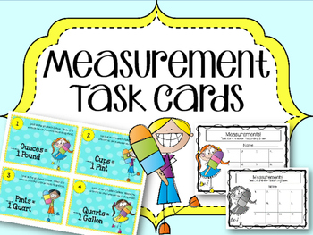 Measurement Task Cards. Math Center.