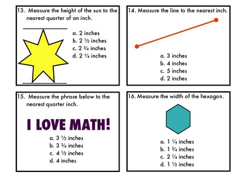Measurement Task Cards-Measuring to the Nearest Inch and Quarter Inch