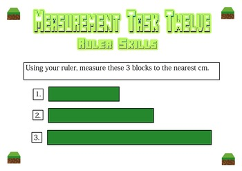 Measurement Task Cards - Minecraft Themed - NZ  level 2 AGES 7 to 10 NO PREP