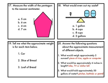 Measurement Task Cards-length, capacity, weight, area and perimeter