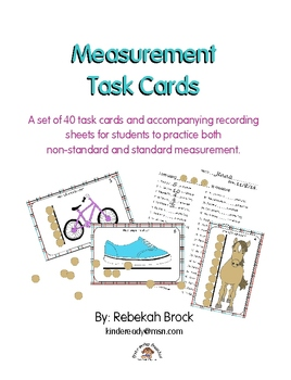 Measurement Task Cards:Teach Early Leaners Non-Standard and Standard Measurement