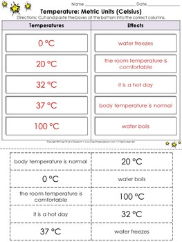 Temperature: Metric Units (Celsius) Cut and Paste Activity - Measurement