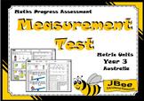 Measurement Test (Metric Units): Maths Progress Assessment—Year 3 Australia