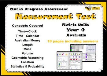 Measurement Test (Metric Units): Maths Progress Assessment—Year 4 Australia