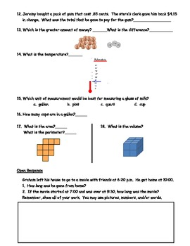 Measurement Test Prep Sheet for Grades 3 and 4