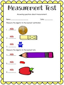 Measurement Test with answer key!