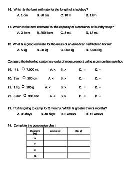 Measurement Test/Assessment 4.MD.1-2