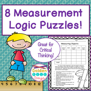 Measurement Themed Logic Puzzles For Critical Thinking! Grades 2, 3 & 4!