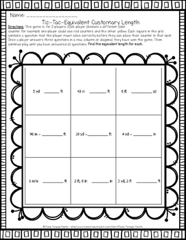 Measurement {Tic-Tac-Math} Math Center (Customary, Metric, Area & Perimeter)