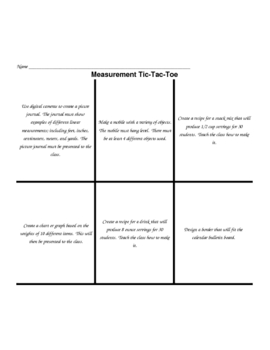 Measurement Tic-Tac-Toe