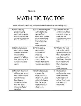 Measurement Tic Tac Toe