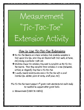 Measurement Tic-Tac-Toe Extension Activity