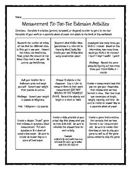 Measurement Tic-Tac-Toe Enrichment Activity