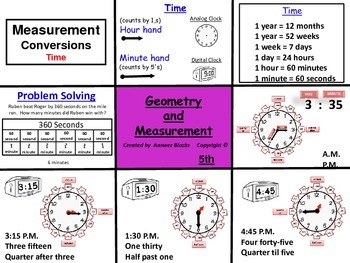 Measurement Time 5th Grade