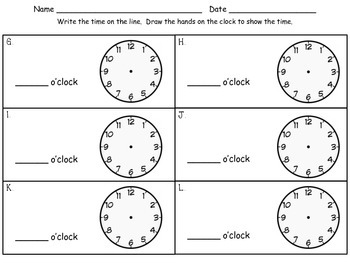 Measurement: Time - First Grade enVision Math - Math Centers