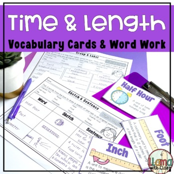Measurement: Time & Length Vocabulary Cards and Word Work Activities